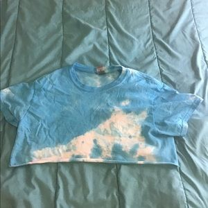 Tops - Blue tie-dye cropped t shirt